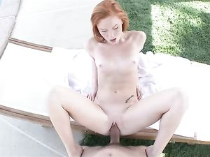 Cute Petite Redhead Painted With His Massive Cumshot
