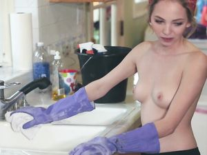 Maid Makes Extra Money Giving Up Her Teen Pussy