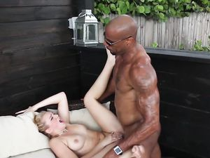 Blonde Goes Black In The Outdoor Lounge And Loves It