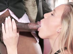 Huge Ebony Cock Stretches Her Fresh Teenage Pussy