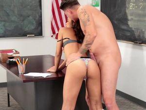 School Cutie Takes A Cumshot From Her Teacher