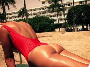 Red Swimsuit Babe With A Big Ass Loves To Fuck