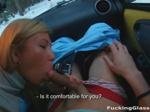 Snow Day Blowjob In The Car From A Cute Blonde