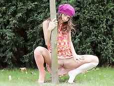 Slender Ass Flashing Teen In The Garden