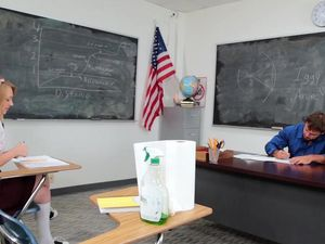 Pleated Miniskirt Girl Blows And Fucks Her Teacher