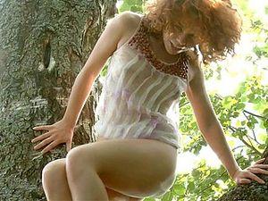 Amazing Teen Masturbating On A Tree Naked