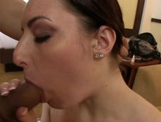 Sexy Freckled Girl On Her Knees Eating Dick