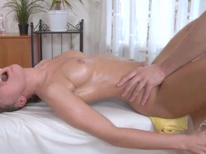 Freshly Oiled And Aroused Teen Takes Big Dick