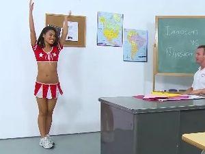 Cheerleader Bent Over The Teachers Desk For Cock