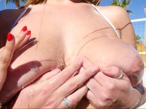 Trio Of Oiled Up Ladies Fuck His Big Dick Outdoors