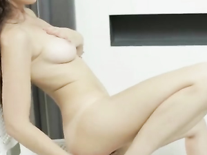 Teenage Beauty Tenderly Touches Her Tits And Cunt